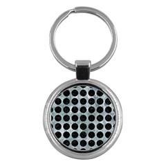 Circles1 Black Marble & Ice Crystals Key Chains (round)  by trendistuff