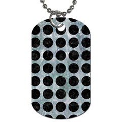 Circles1 Black Marble & Ice Crystals Dog Tag (one Side) by trendistuff