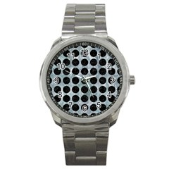 Circles1 Black Marble & Ice Crystals Sport Metal Watch by trendistuff