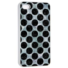 Circles2 Black Marble & Ice Crystals Apple Iphone 4/4s Seamless Case (white) by trendistuff