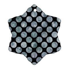 Circles2 Black Marble & Ice Crystals (r) Snowflake Ornament (two Sides) by trendistuff