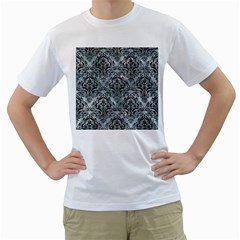 Damask1 Black Marble & Ice Crystals Men s T Shirt (white) (two Sided)