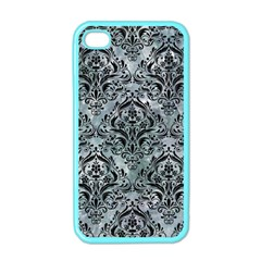Damask1 Black Marble & Ice Crystals Apple Iphone 4 Case (color)