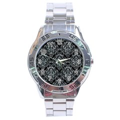 Damask1 Black Marble & Ice Crystals (r) Stainless Steel Analogue Watch by trendistuff