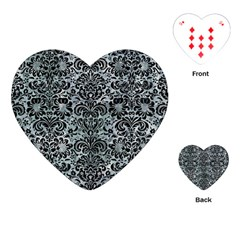 Damask2 Black Marble & Ice Crystals Playing Cards (heart)  by trendistuff