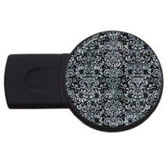 Damask2 Black Marble & Ice Crystals (r) Usb Flash Drive Round (2 Gb) by trendistuff