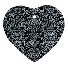 Damask2 Black Marble & Ice Crystals (r) Heart Ornament (two Sides) by trendistuff