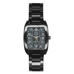 Damask2 Black Marble & Ice Crystals (r) Stainless Steel Barrel Watch by trendistuff