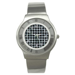 Houndstooth1 Black Marble & Ice Crystals Stainless Steel Watch by trendistuff