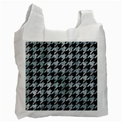Houndstooth1 Black Marble & Ice Crystals Recycle Bag (two Side)  by trendistuff
