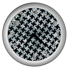 Houndstooth2 Black Marble & Ice Crystals Wall Clocks (silver)  by trendistuff