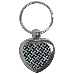 Houndstooth2 Black Marble & Ice Crystals Key Chains (heart)  by trendistuff
