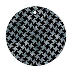 Houndstooth2 Black Marble & Ice Crystals Round Ornament (two Sides) by trendistuff