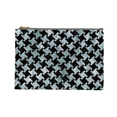 Houndstooth2 Black Marble & Ice Crystals Cosmetic Bag (large)  by trendistuff