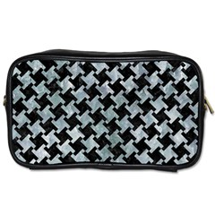 Houndstooth2 Black Marble & Ice Crystals Toiletries Bags 2 Side by trendistuff