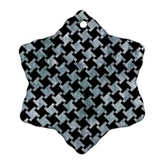 Houndstooth2 Black Marble & Ice Crystals Ornament (snowflake) by trendistuff