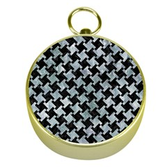 Houndstooth2 Black Marble & Ice Crystals Gold Compasses by trendistuff