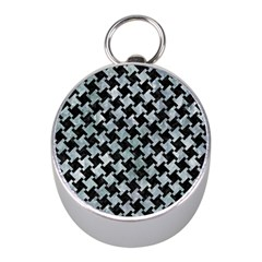 Houndstooth2 Black Marble & Ice Crystals Mini Silver Compasses by trendistuff