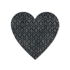 Hexagon1 Black Marble & Ice Crystals (r) Heart Magnet by trendistuff