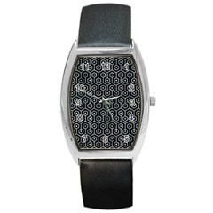 Hexagon1 Black Marble & Ice Crystals (r) Barrel Style Metal Watch by trendistuff