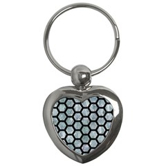 Hexagon2 Black Marble & Ice Crystals Key Chains (heart)  by trendistuff
