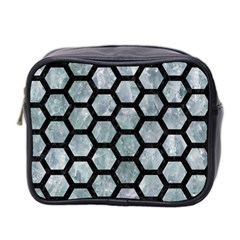Hexagon2 Black Marble & Ice Crystals Mini Toiletries Bag 2 Side by trendistuff