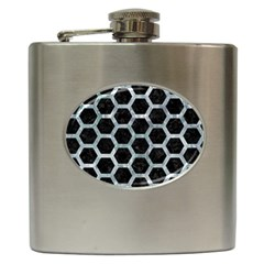 Hexagon2 Black Marble & Ice Crystals (r) Hip Flask (6 Oz) by trendistuff