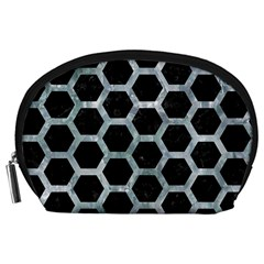Hexagon2 Black Marble & Ice Crystals (r) Accessory Pouches (large)  by trendistuff