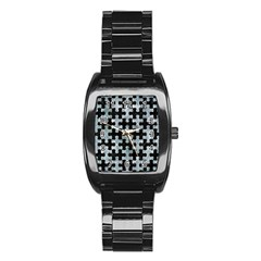 Puzzle1 Black Marble & Ice Crystals Stainless Steel Barrel Watch by trendistuff