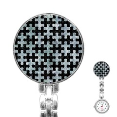 Puzzle1 Black Marble & Ice Crystals Stainless Steel Nurses Watch by trendistuff