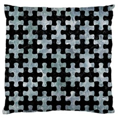 Puzzle1 Black Marble & Ice Crystals Standard Flano Cushion Case (one Side) by trendistuff