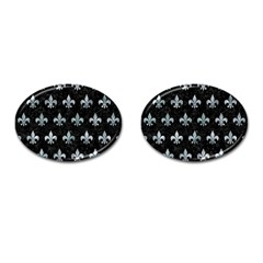 Royal1 Black Marble & Ice Crystals Cufflinks (oval) by trendistuff