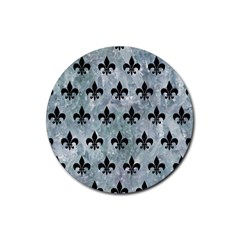 Royal1 Black Marble & Ice Crystals (r) Rubber Coaster (round)  by trendistuff