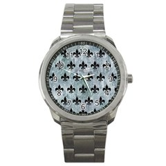 Royal1 Black Marble & Ice Crystals (r) Sport Metal Watch by trendistuff