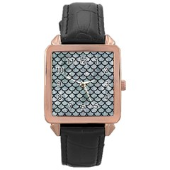 Scales1 Black Marble & Ice Crystals Rose Gold Leather Watch  by trendistuff