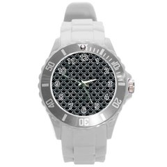 Scales2 Black Marble & Ice Crystals (r) Round Plastic Sport Watch (l) by trendistuff