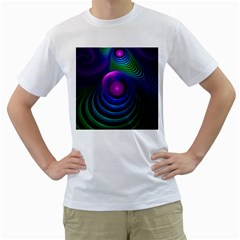 Beautiful Rainbow Marble Fractals In Hyperspace Men s T Shirt (white) (two Sided)
