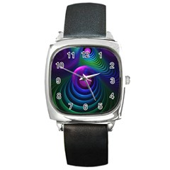 Beautiful Rainbow Marble Fractals In Hyperspace Square Metal Watch by jayaprime