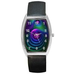 Beautiful Rainbow Marble Fractals In Hyperspace Barrel Style Metal Watch by jayaprime