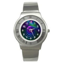 Beautiful Rainbow Marble Fractals In Hyperspace Stainless Steel Watch by jayaprime