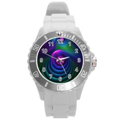 Beautiful Rainbow Marble Fractals In Hyperspace Round Plastic Sport Watch (l) by jayaprime