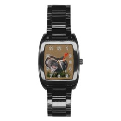 Thanksgiving Turkey Stainless Steel Barrel Watch