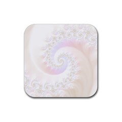 Mother Of Pearls Luxurious Fractal Spiral Necklace Rubber Square Coaster (4 Pack)  by jayaprime