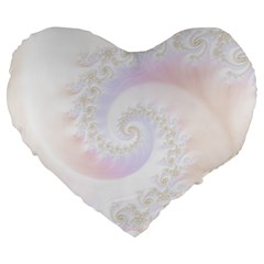 Mother Of Pearls Luxurious Fractal Spiral Necklace Large 19  Premium Heart Shape Cushions by jayaprime