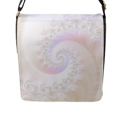 Mother Of Pearls Luxurious Fractal Spiral Necklace Flap Messenger Bag (l)  by jayaprime