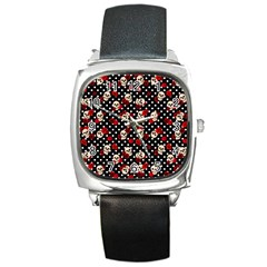 Skulls And Roses Square Metal Watch