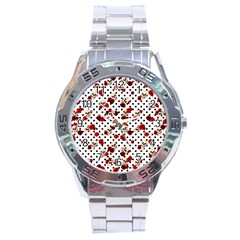 Skulls And Roses Stainless Steel Analogue Watch by Valentinaart
