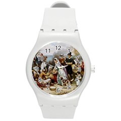 The First Thanksgiving Round Plastic Sport Watch (m) by Valentinaart
