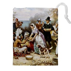 The First Thanksgiving Drawstring Pouches (xxl) by Valentinaart