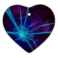 Beautiful Bioluminescent Sea Anemone Fractalflower Heart Ornament (two Sides) by jayaprime
